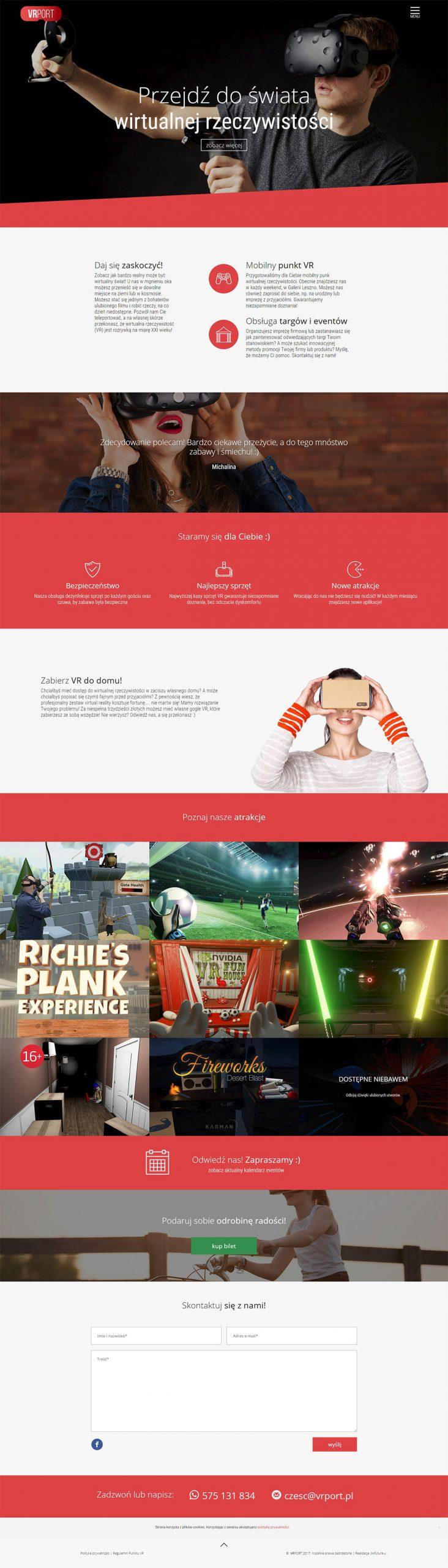 Stron www - Salon wirtualnej rzeczywistości VRport